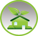service house with leaves icon